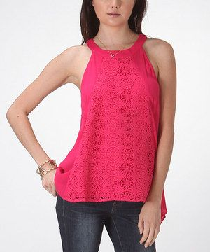 Look at this #zulilyfind! Hot Pink Crocheted Sidetail Yoke Top by Carapace #zulilyfinds
