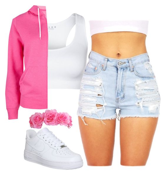 """pink and white thang"" by daijahhill25 ❤ liked on Polyvore"
