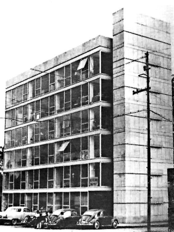 Edificio de oficinas de la SG Construcciones SA, av. Progreso 158, Santa Catarina, Coyoacán, México, DF 1958  Arqs. Santiago Greenham y Antonio Peyri -  Office building of the SG Construcciones company, av. Progresso 158, Santa Catarina, Coyoacan, Mexico City 1958