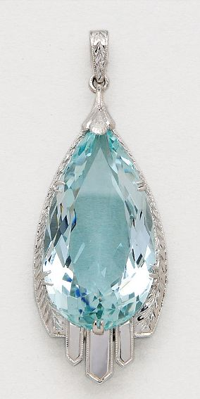 Aquamarine and 18K White Gold Pendant  Set with a pear-shaped aquamarine weighing approximately 18.00 carats