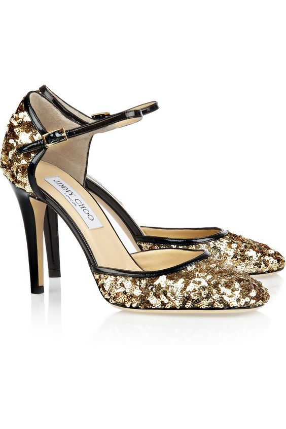 Jimmy ChooTessa sequined leather pumps