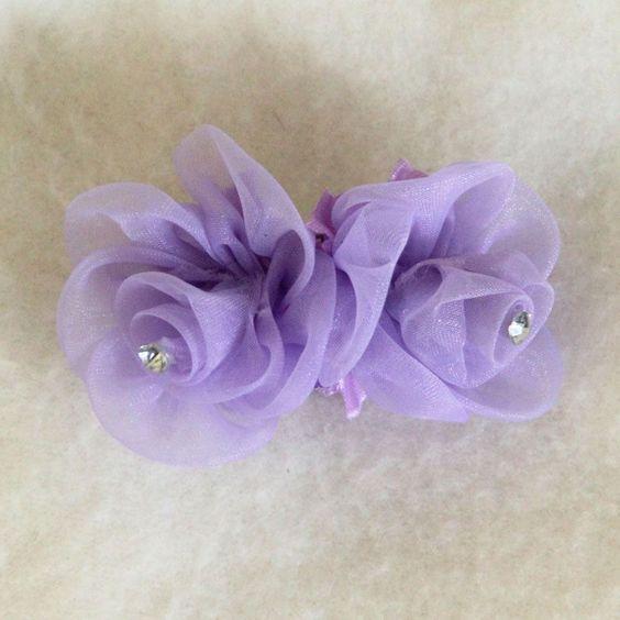 Lavender Rosebuds Hair Bow