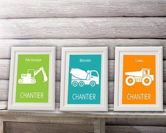 3 affiches enfant tracteurs camions pour chambre de par alexiableu, affiche garçon, décoration garçon, affiche tracteur