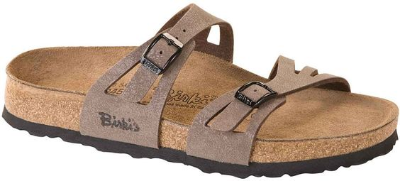birkenstock birki's moorea mocha Soft  $89.95  Sensitive feet will be happy in this soft footbed two-strap Moorea sandal. An extra layer of cushy foam is under the liner to provide shock absorption and comfort. Delicately cutout straps dress this style up and two adjustable buckles allow for a good fit. The cork footbed provides great arch support and a deep heel cup for stability while walking. Lightweight and cushiony EVA soles are flexible and long-wearing. Resoleable.