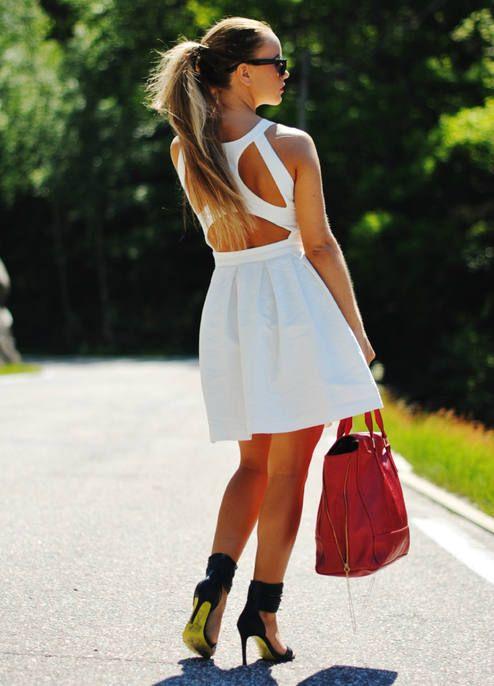 Gina Tricot White Adorable Strappy Back A-line Dress http://ift.tt/1nOdDi1
