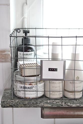Baskets wire baskets and bathroom on pinterest - Bathroom storage baskets shelves ...