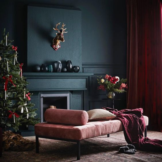 Dark luxurious Christmas living room via Jotex.se