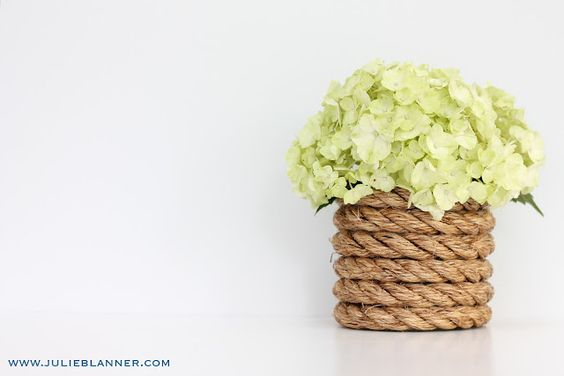 """#DIY Rustic Rope Vase - I would totally do this with tin cans or something though, for art supply holders on my son's new craft table to fit his """"nautical"""" theme!!! :)    from Julie Blanner Coordinately Yours Wedding Event Planning Design"""