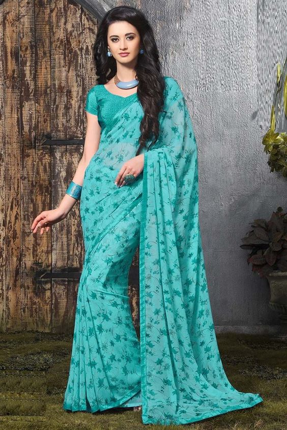 Online Shopping of Teal Casual Wear Fancy Print Georgette Saree from…