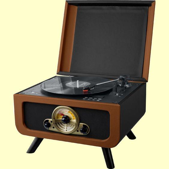 Steepletone RICO 3 Speed Record Player with Hidden CD Player & Radio