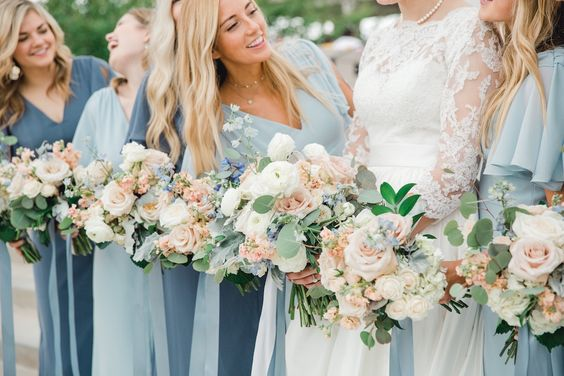 gorgeous dusty blue weddings, dusty blue bridesmaids dresses, dusty blue and blush wedding flowers, blush bridesmaids bouquets, dusty blue silk ribbon wedding flowers utah calie rose
