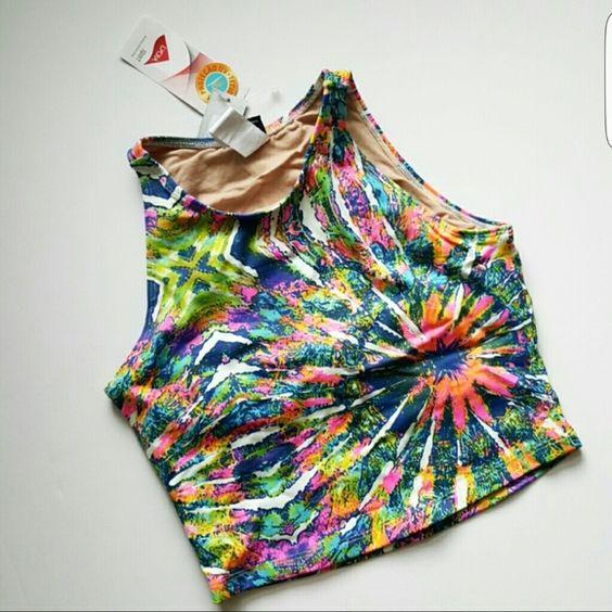 Liquido swim crop top Beautiful tie dye style print in a crop top liquido Tops Crop Tops