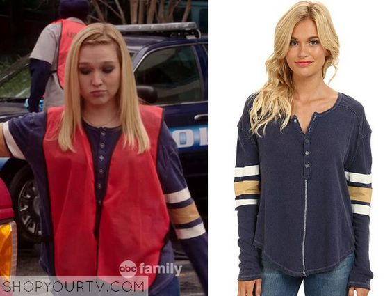 Switched at Birth: Season 4 Episode 5 Tess's Navy Striped Sleeve Henley