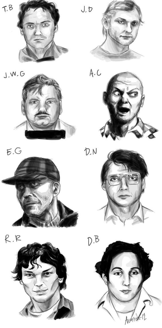 By Amanda Bellman. From left to right: Ted Bundy, Jeffrey Dahmer, John Wayne Gacy, Andrei Chikatilo, Ed Gein, Dennis Nilsen, Richard Ramirez and David Berkowitz.