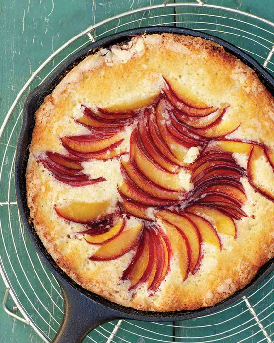 ER Also use peaches, nectarines, cherries, berries etc. and vanilla or almond flavouring or lemon zest etc.  Plum Skillet Cake
