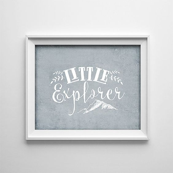 INSTANT DOWNLOAD 8X10 Printable Digital art file - Little Explorer - Grey white - nursery art - baby - kids - adventure travel explore    This
