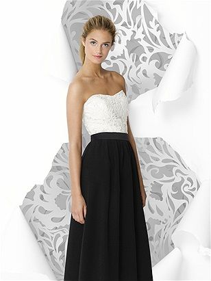 Full length dress with lace bodice and crinkle chiffon skirt. Matte Satin trim at waist always match the skirt.