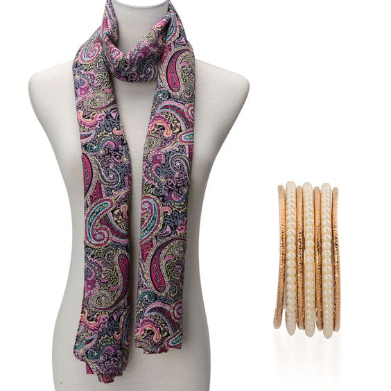 Pink Paisely Print Scarf (70x27 in) and Glass Pearl Set of Bangles in ION Plated YG Stainless Steel