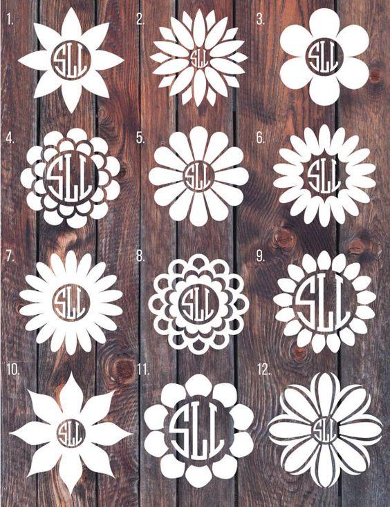 Flower Monogram decal, Monogram sticker, circle monogram, car decal.