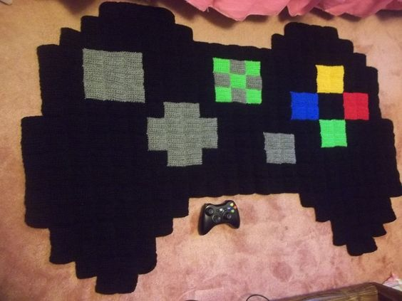 Pixel Crochet Blanket Rugs And Xbox Controller On Pinterest