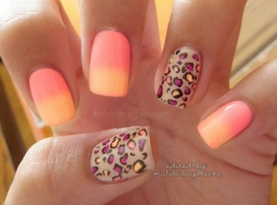 Different Color Cheetah Nails