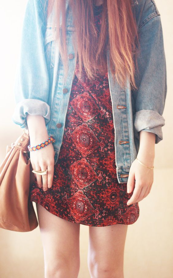 denim + dress CLICK THE PIC and Learn how you can EARN MONEY while still having fun on Pinterest: