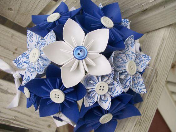 Origami Blume Brautstrauss & Boutonnière  blau von PoshStudios