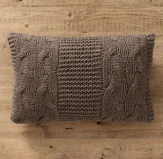 Italian Wool & Alpaca Cable Knit Lumbar Pillow Cover Mocha: Italian Wool & Alpaca Cable Knit Lumbar Pillow Cover Mocha