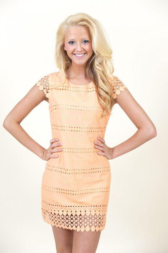 Sweet Shop Dress-Peach $46