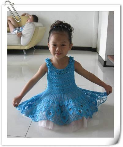 Pfau-Kleid für Mädchen