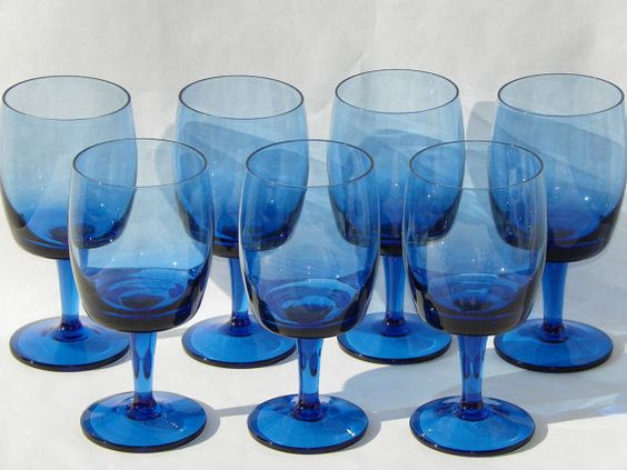 Lenox Gorham medium blue crystal stemware, made in West Germany in the accent pattern. Manufactured from 1982 through 1988. This set of seven,