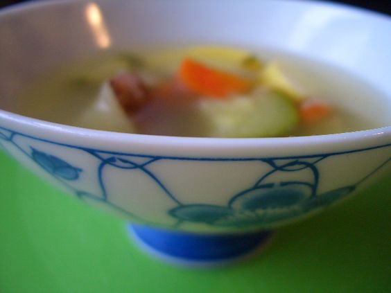 Just veggies and broth for taming an upset tummy.