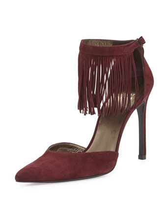 Fringelica Pointed-Toe Pump, Currant by Stuart Weitzman at Neiman Marcus.