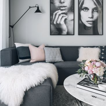 one of my favorite living rooms. Pastel Pink, Black, Grey, White: