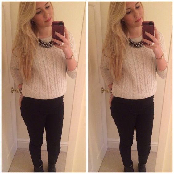 White jumper & high waisted black trousers & statement necklace.
