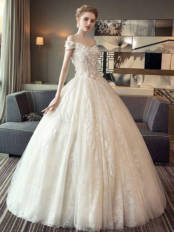 Off The Shoulder Ivory Flowers Applique Floor Length Wedding Gown