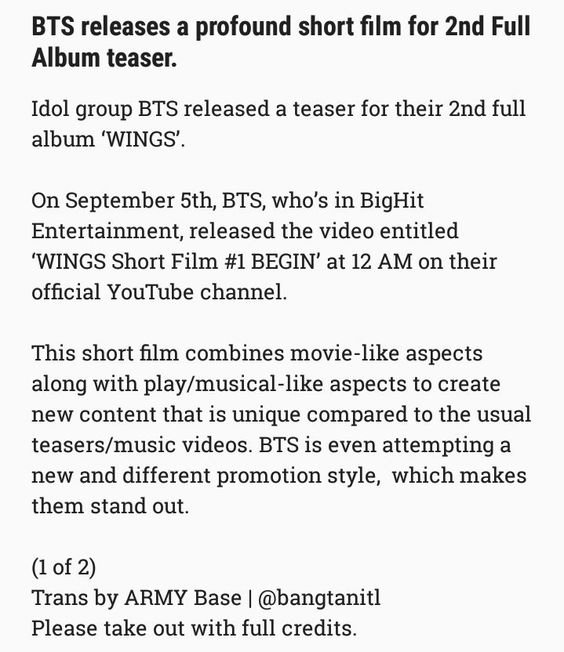 English translation of the article on naver about Bangtan releasing the Short Film WINGS for their 2nd Full Length Album (1/2) ❤ (BigHit: Drops video, comeback, 2nd full length album.. ARMY: Drops dead for the millionth time) #BTS #방탄소년단