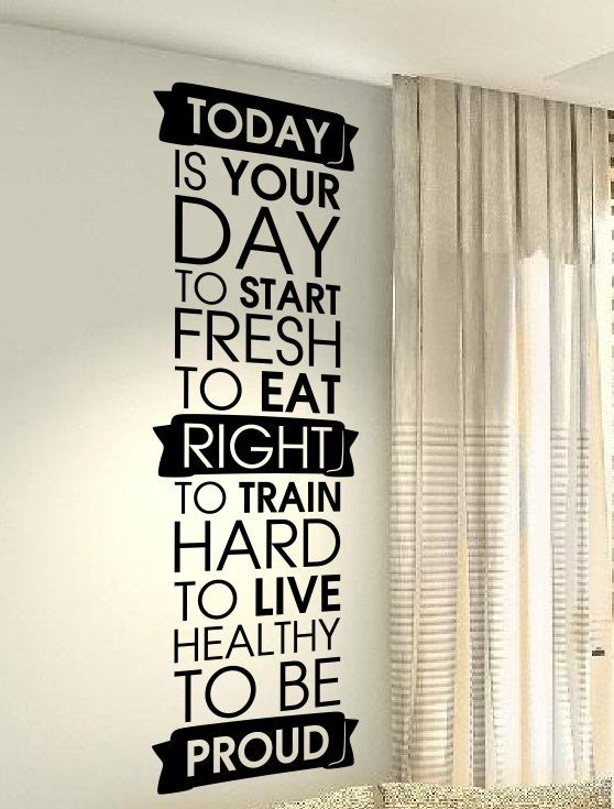 Sports Fit Gym Fitness Motivation workout Sports Hobby Quote wall vinyl decals stickers DIY Art Decor Bedroom Home Happiness