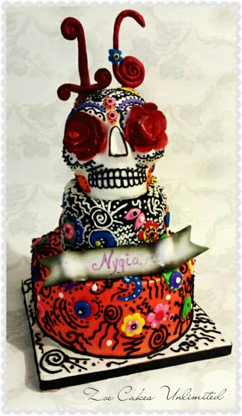 Zoe Gilham Cake Artist : Day Of The Dead themed cake #cake art #dayofthedead # ...