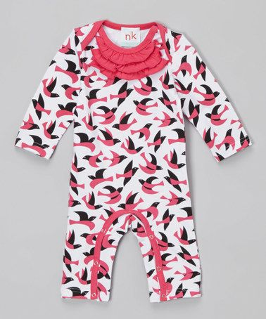 Look what I found on #zulily! Pink & Black Geometric Birds Ruffle-Neck Coveralls #zulilyfinds
