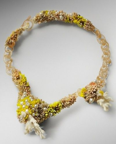 Rachel Rader – Her Majesty's Necklace flame-worked glass, polymer clay, coral, Austrian crystal, freshwater pearls, wool