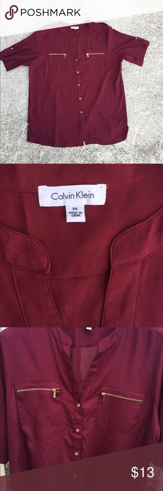 Calvin Klein Plus Size 2X Shirt Blouse New - No signs of wear - Size 2X - Gold zip detail with Calvin Klein logo - Excellent condition - Burgundy color Calvin Klein Tops