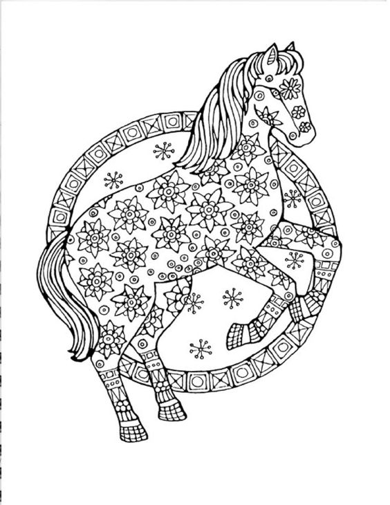 Abstract Unicorn Coloring Pages : Horse coloring page to print and color nature adult