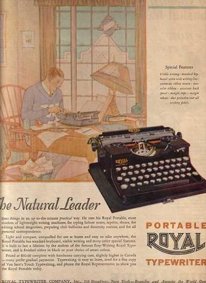 Royal (Portable Typewriter) (1927).  Las máquinas de escribir Royal resultaron ser increíblemente populares y, con el fin de cumplir con la demanda, la compañía pronto se trasladaría a un local más grande en Hartford, Connecticut. Aquí, se seguirían produciendo sus máquinas de escribir hasta bien entrada la segunda mitad del siglo XX.
