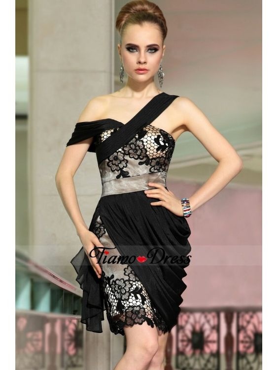 Tiamo sheath one shoulder embroidered draped short black cocktail dresses sexy 2014