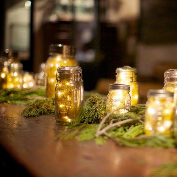 Firefly-Inspired Mason Jar Decor   Weddings by Two   632 on Hudson   www.theknot.com