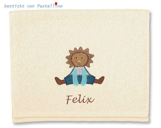 Wir besticken diesen Handtuch mit der Applikation Löwe Leo für kleine Löwen mit dem Wunschnamen. Das Handtuch ist in der Farben Creme und folgen Farben sind passend für die Bestickung:  -espresso (dunkles Braun) -choco (helles Braun) -orange -oder eine andere Farbe nach Ihrem Geschmack Bitte teilen Sie uns im Laufe der Bestellung den Wunschnamen und die Wunschfarbe für die Bestickung  http://de.dawanda.com/product/104864847-kinderhandtuch-loewe-leo-mit-namen-bestickt