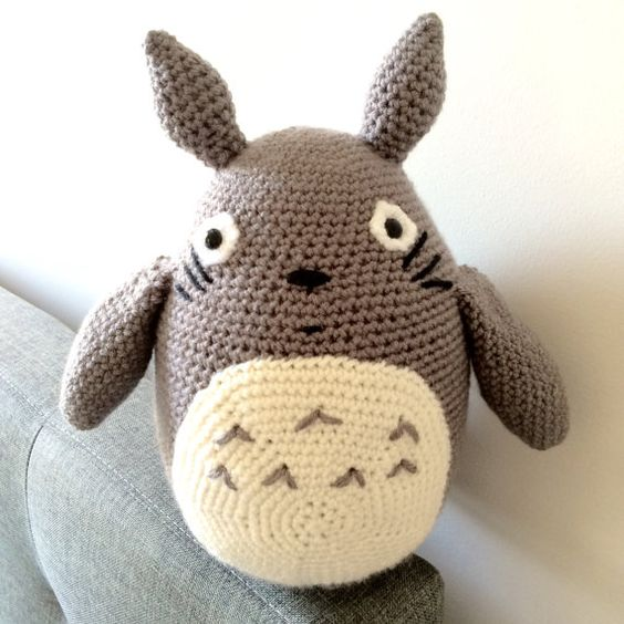 Large Crochet Totoro Amigurumi Plush Doll by PikaPlanet on Etsy