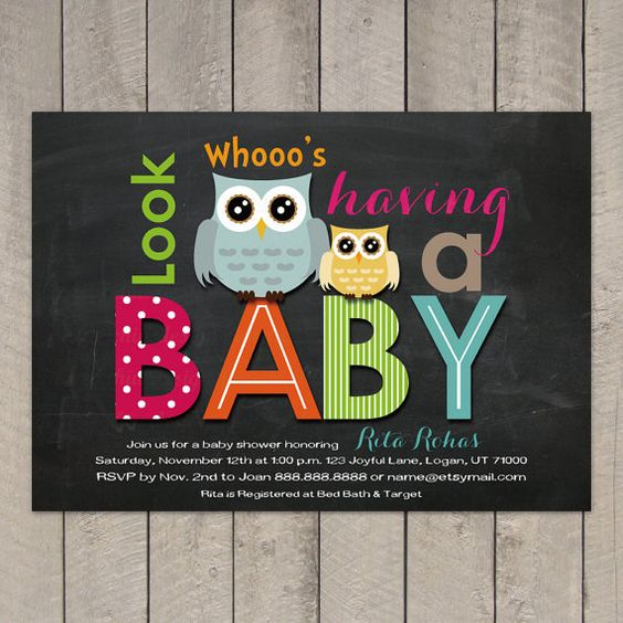 Vintage Owl Baby Shower Invitations: Chalkboard Owls Baby Shower Invitation Digital Printable