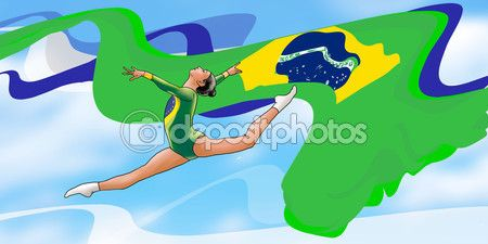 Rio summer 2016, young gymnast woman in green sportswear dress with Brazilian flag, doing art gymnastics element split jumps in the air, on Blue sky. Abstract Illustration. Summer Brazil Games. Athletics Games. Brazil flag. — Stock Photo © sofiartmedia.gmail.com #116852898